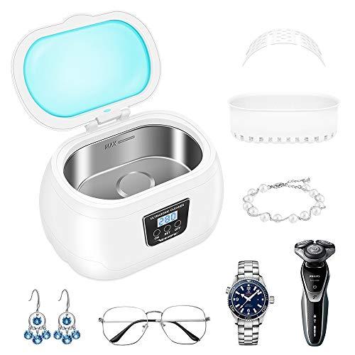 VEEAPE Ultraschallreinigungsgerät Ultraschallreiniger 600ml Ultraschallgerät mit Uhrenhalter und Reinigungskorb Ultraschallbad 5-Stufen-Timing 43000 Hz für Brille Uhren Schmuck Zahnprothesen